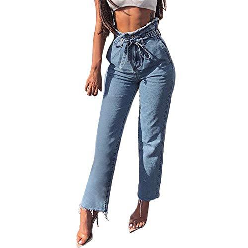 JESPER Women Hight Waisted Loose Denim Pants Bow Bandage Hole Straight Leg Jeans Blue