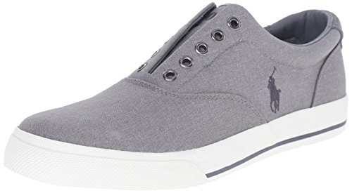 Polo Ralph Lauren Men's Vito Heathered Nylon Fashion Sneaker, Light Grey, 11 D US