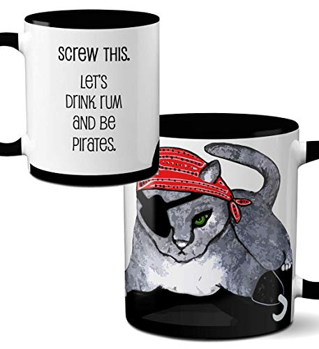 Pirate Cat Mug by Pithitude - One Single 11oz. Black Coffee Cup -