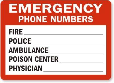 Emergency Phone Numbers Fire ___ Police ___ Ambulance ___ ...