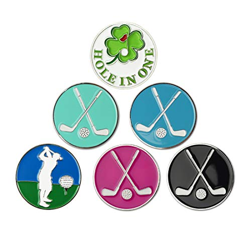 GOLTERS Golf Ball Markers fit All Magnetic Golf Hat Best Golf Gifts Clips Pack of 6 (Mixed 10)