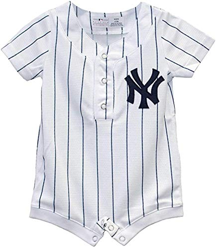 Outerstuff MLB Newborn Infants Cool Base Home Alternate Romper Jersey (0/3 Months, New York Yankees Home White)