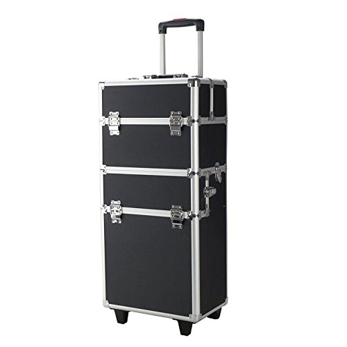 Pro 3 in1 Aluminum Rolling Makeup Cosmetic Train Case Wheeled Box (Rolling Makeup Case)