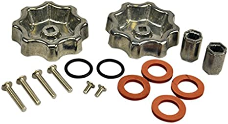 danco outdoor faucet water spigot handle hose bibb round wheel handle replacement includes screws metal 10006 silver pewter