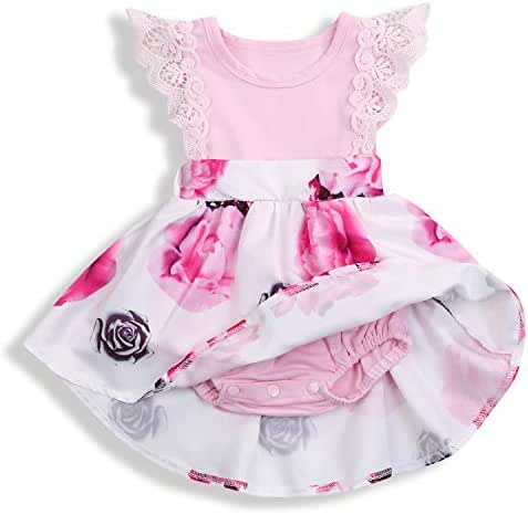 HAPPYMA Infant Baby Girl Floral Dress Ruffle Skirts Flutter Sleeve Summer Outfits