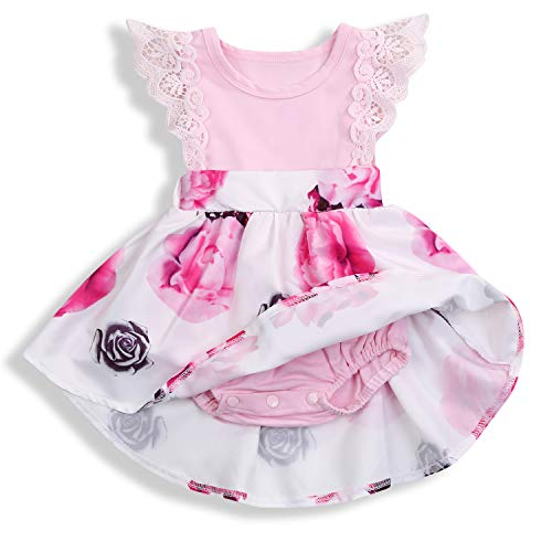 HAPPYMA Infant Toddler Baby Girl Dress Floral Lace Dresses Ruffle Flying Sleeve Skirt Outfits (Pink # Romper, 3-6 Month)