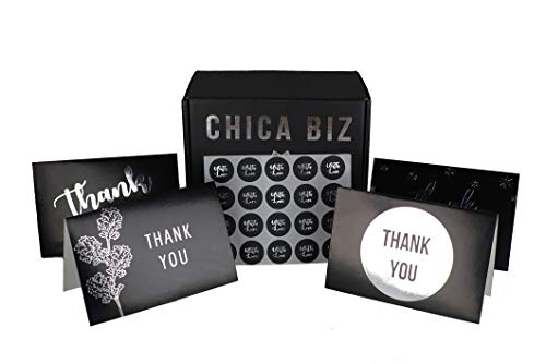 100 Thank You Cards by Chica Biz - Bulk 4x6 Greeting Cards with Envelopes - Cute and Chic for Birthday, Weddings, Baby Shower, Party, Business, and Holidays - Black and Silver -