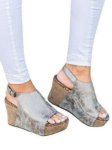 - Syktkmx Womens Platform Wedges Open Toe Comfort Slingback Cork Heel Ankle Bootie Sandals