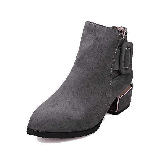 AllhqFashion Women's Zipper Low-Heels Solid Pointed Closed Toe Frosted Zipper Women's Boots B01NCAYRKX Shoes 0c946d
