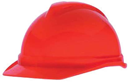 60c9168d Image Unavailable. Image not available for. Color: MSA Orange Polyethylene  Cap Style Hard Hat With 4 Point Ratchet Suspension ...