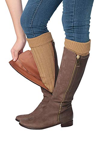 Isadora Paccini Women's Ribbed Knit Leg Warmers, One Size, LW15, Light Brown