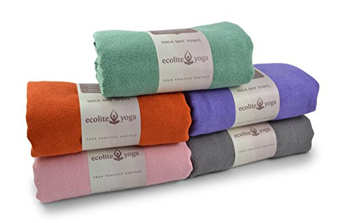 Ecolite Yoga Towel Ideal for Hot Yoga,Bikram Yoga,mat-size 24X72 Non-Slip,Skidless,Super Absorbent,Eco-Friendly,Machine Washable,100% Microfiber Yoga Mat Towel,FREE Yoga Cotton Tote Bag(Purple)