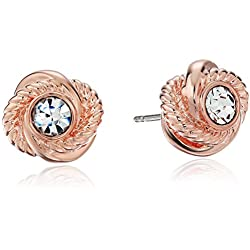 "kate spade new york""Infinity and Beyond"" Clear/Rose Gold Knot Stud Earrings"