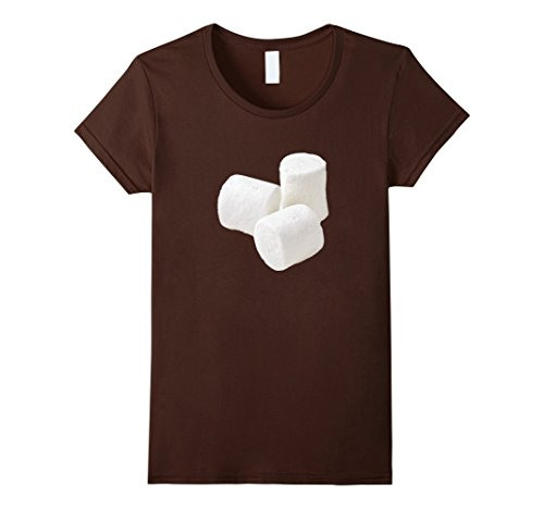 Women's Marshmallow matching with Hot Chocolate Cocoa costume tshirt Small Brown (Hot Costumes For Couples)