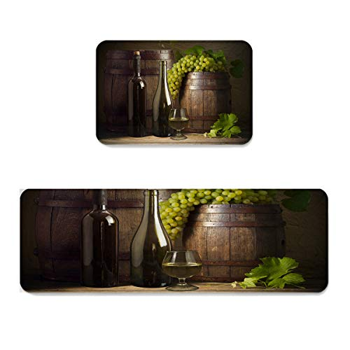 SODIKA Kitchen Mats and Rugs 2 Pieces Non-Slip Soft Kitchen Mat Bath Rug Doormat Runner Carpet Set,Wine Bottle Green Grapes 15.7x23.6in+15.7x47.2in