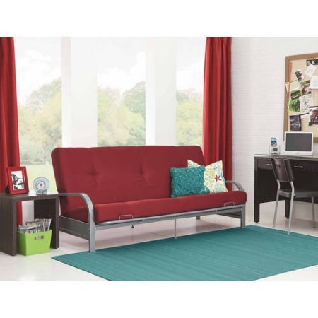 Mainstays Metal Arm Futon with Mattress Black (Silver Metal Arm, Red)