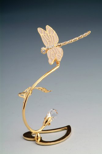 Dragonfly Heart Swarovski Crystal 24k Gold Plated NIB