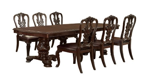Furniture of America Evangelyn 7-Piece Dining Set with Wooden Chairs, Cherry (Legs Cabriole Carved)