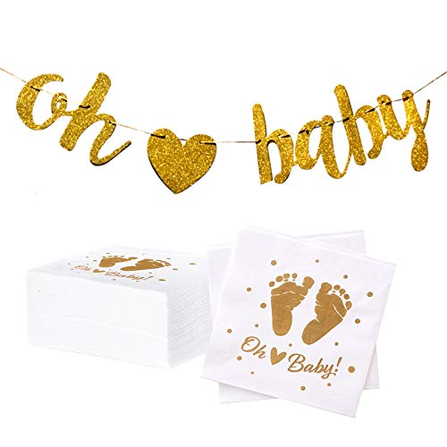 (100 Baby Shower Napkins | Oh Baby Napkins with Pre-Strung Gold Oh Baby Banner and Bonus Oh Baby Cupcake Toppers | Gender Neutral Baby Shower Decorations and Sprinkle Party Supplies by Dessie)
