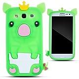Zooky® verde silicona cerdo FUNDA / CARCASA / COVER para Samsung Galaxy S3 (i9300)