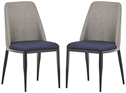 Rivet Roger 2-Pack Mid-Century 2-Tone Accent Chairs, 34.8 H, Grey and Navy