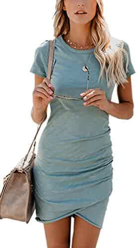 c90d3aa6c433 ECOWISH Womens Dresses Summer Casual Ruched Short Sleeve Irregular Bodycon  Mini Dress