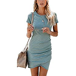 35be58837bb ECOWISH Womens Dresses Summer Casual Ruched Short Sleeve Irregular Bodycon  Mini Dress