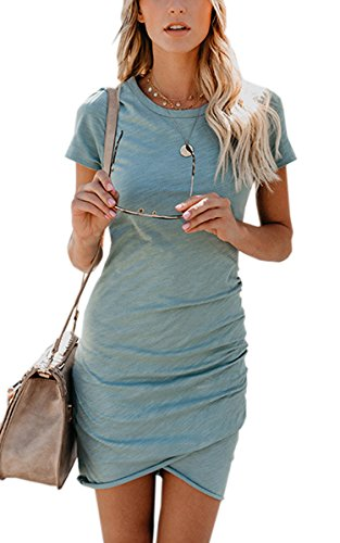 ECOWISH Womens Dresses Summer Casual Ruched Short Sleeve Irregular Bodycon Mini Dress