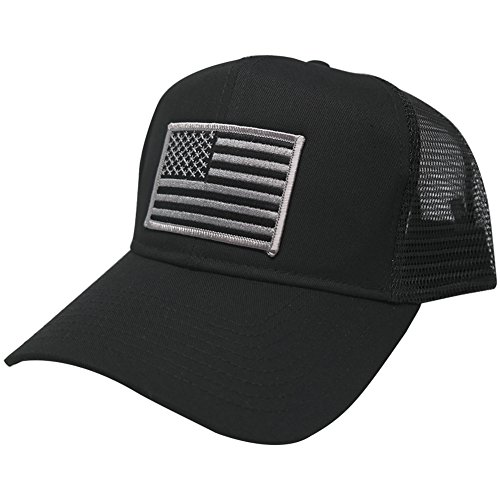 - AC Racing USA American Flag Patch Snapback Trucker Mesh Cap - Black, Subdued Grey Patch