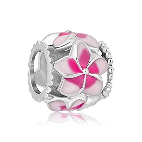 (Orchid Charm Fit Pandora Charms Silver Plated Orchid Charm Filigree Pink Flower Love Enamel Charm Beads European Charms Bracelet Gift)