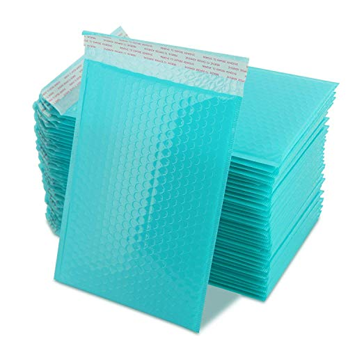 Yomuse #0 Extra Wide 7 x 10 Poly Bubble Mailer Self-Seal Padded Envelopes Fits CD DVD, Pack of 50, Teal