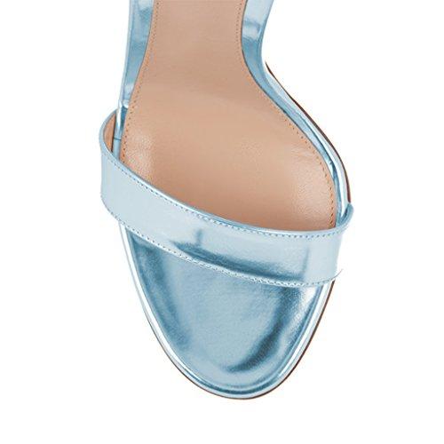 Classic Heel Buckle Sandals Warp FSJ 15 Light Open Women Evening Ankle US Toe High Blue 4 Shoe with Size 5IqxqvfgwH