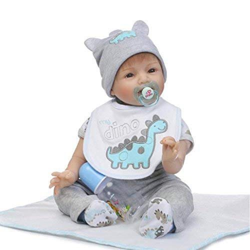 Dirance Lifelike Reborn Doll Soft Silicone Full Body Realistic Pink Girl Doll Vinyl Reallike Handmade Newborn Baby Doll with Clothes 55cm, Kids Gift for Ages 3+ (Blue)