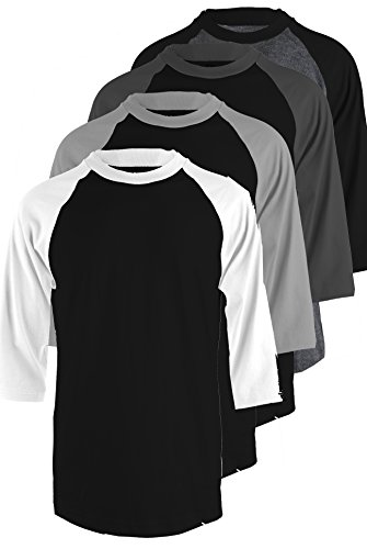 TOP LEGGING TL Men's 4 Pack 3/4 Sleeve Baseball Cotton Crew Neck Jersey Raglan Tee Shirts S to 3XL - 3XL