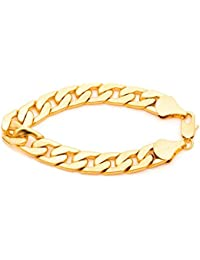 Cuban Link Bracelet 11mm, Flat Wide, 24K Gold Over Semi-Precious Metals, Fashion Jewelry, 24K Overlay, Thick Layers Help Resist Tarnishing, 8-10 Inches
