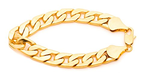 - Lifetime Jewelry Cuban Link Bracelet 11mm, Flat Wide, 24K Gold Over Semi-Precious Metals, Fashion Jewelry, 24K Overlay, Thick Layers Help Resist Tarnishing, 10 Inches