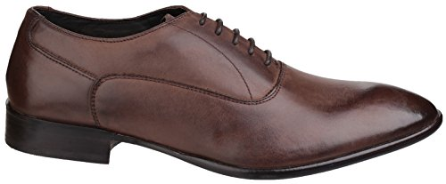 Base London Mens Holmes Casual Leather Everyday Oxford Lace Up Shoes marrón