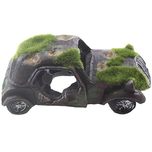 Emours Imitation Car Wreck Aquarium Ornament Car Fish Tank Underwater Landscape Decor with Flocking Moss, 6.3 x 3.1 x 2.3inch ()