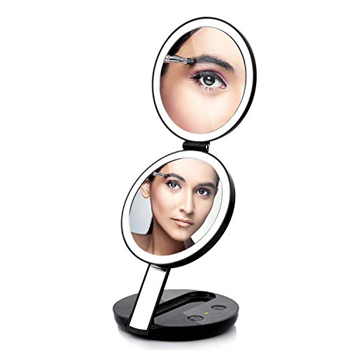 butyface Lighted Travel Makeup Mirror,1X/7X Double Sided LED Lighted Makeup Mirror,Compact Folding Handheld Travel Mirror with LED Lights,Charging by Batteries or USB Plug in