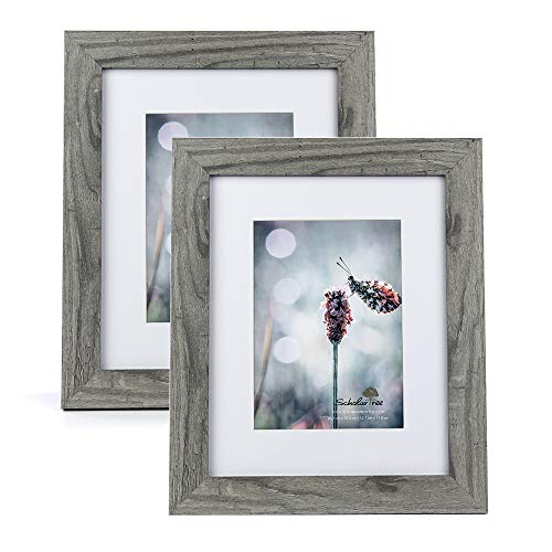 Scholartree Wooden Grey 8x10 Picture Frame 2 Set in 1 Pack or 5x7 Frame or 11x14 Photo Frame (10 Frames X 8 Photo)