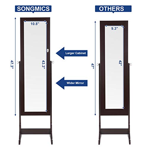 SONGMICS 6 LEDs Mirror Jewelry Cabinet Lockable Standing Mirrored Jewelry Armoire Organizer 2 Drawers Brown Mother's Day Gift UJJC94K by SONGMICS (Image #4)