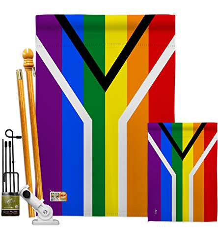 Americana Home & Garden FK148007-BO Gay South Africa Inspirational Support Decorative Vertical Flags Kit, House & Garden Set w/Flagpole, Multi-Color (Patio Set South Africa)