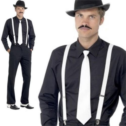 Indisguise Men's Gangster Set Fancy Costume Hat Tie Brace Tash Spat Al Capone One Size Fits All (Gangster 1930's Costumes)