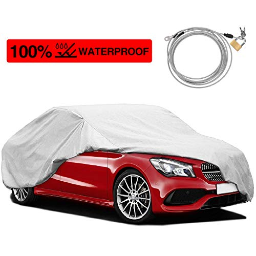 (KAKIT 2 Layers Windproof Waterproof Car Cover, UV Protection Sun Proof Car Covers for Outdoor Indoor, Free Windproof Ribbon & Anti-Theft Lock)