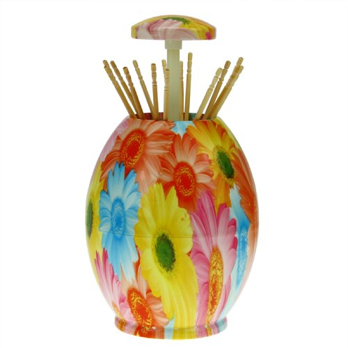 Holiberty Novelty Egg-shaped ABS Pop-Up Toothpicks Holder Tableware Automatic Dispenser Home Hotel Decoration(Daisy Flower Pattern)
