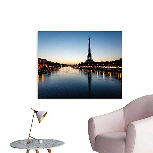 J Chief Sky Night Wallpaper Sticker Eiffel Tower at Twilight Travel Destination Tourist Attraction Famous Monument Decor Mural for Home W32 xL24