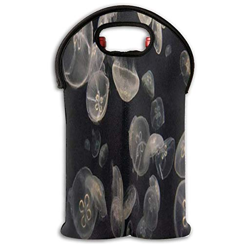 Red Wine Sets Glow In The Dark Jellyfish Red Wine Tote Bag Insulated Padded 2 Bottle Champagne Holder Bag for $<!--$16.00-->