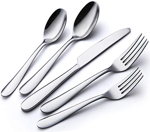 Stainless Steel 60-Piece Flatware Silverware Cutlery Set for 12, Modern Elegant Tableware Mirror Polished Design, Utensils Set Include Knives/Spoons/Forks Service for 12, Dishwasher Safe