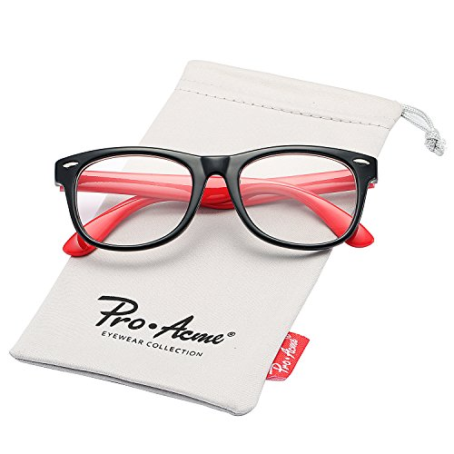 Pro Acme TPEE Rubber Flexible Kids Nerd Glasses Clear Lens Geek Fake for Costume (Age 3-10) (Black/Red) -