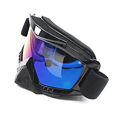 Motorcycle Goggles, Nuoxinus Adult Motocross ATV Dirt Bike Off Road Goggle, Anti UV Anti-Scratch Dustproof Nose Protection Bendable Eyewear for Skiing Cycling Riding Climbing (Colorful Lens): Automotive
